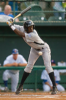 Adeiny Hechavarria #11 of the Dunedin Blue Jays avoids an inside pitch against the Daytona Cubs at Jackie Robinson Stadium June 18, 2010, in Daytona Beach, Florida.  Photo by Brian Westerholt /  Seam Images