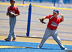 WATERBURY,  CT-071918JS07--Wolcott's Quinn Delaney (1) gets the ball back to the infield after running down a fly ball during their Roberto Clemente tournament game against Diamond Elite of Cincinnati (OH), Thursday at Municipal Stadium in Waterbury. <br /> Jim Shannon Republican American