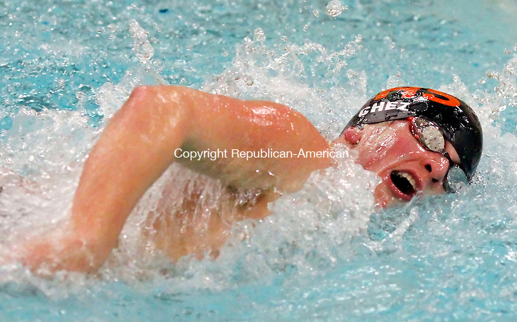 Waterbury, CT-17 January 2012-011712CM08-   Watertown's Tom Cielslewski competes in the 200 yard freestyle against Holy Cross at Kennedy High School in Waterbury Tuesday night.  Cielslewski took second to teammate Ryne Wallace.   Christopher Massa Republican-American