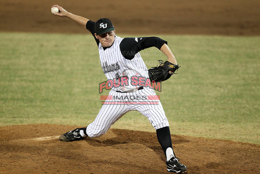 Stetson Hatters Joe Dye #44 during a game vs Siena Saints at Melching Field in De Land, Florida;  March 15, 2011.  Siena defeated Stetson 6-4.  Photo By Mike Janes/Four Seam Images