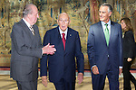 03.10.2012. VIII COTEC Europe Meeting, co-chaired by King Juan Carlos of Spain, the President of the Italian Republic, Giorgio Napolitano, and the President of the Portuguese Republic, Aníbal Cavaco Silva, at the Royal Palace of El Pardo, Madrid, Spain. In the image King Juan Carlos, Giorgio Napolitano and Aníbal Cavaco Silva (Alterphotos/Marta Gonzalez)