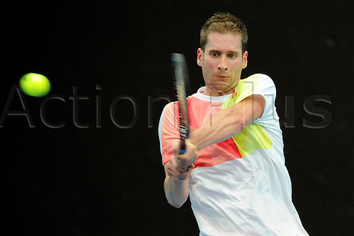 25.10.2016.  St. Jakobshalle, Basel, Switzerland. Basel Swiss Indoors Tennis Championships. Day 2. Florian Mayer in action in the match against Benoit Paire of France