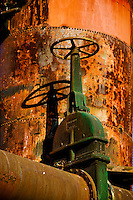 Rusting equipment at historic, former gas plant that served Seattle, WA, now incorporated into Gas Works Park, a Seattle city park.