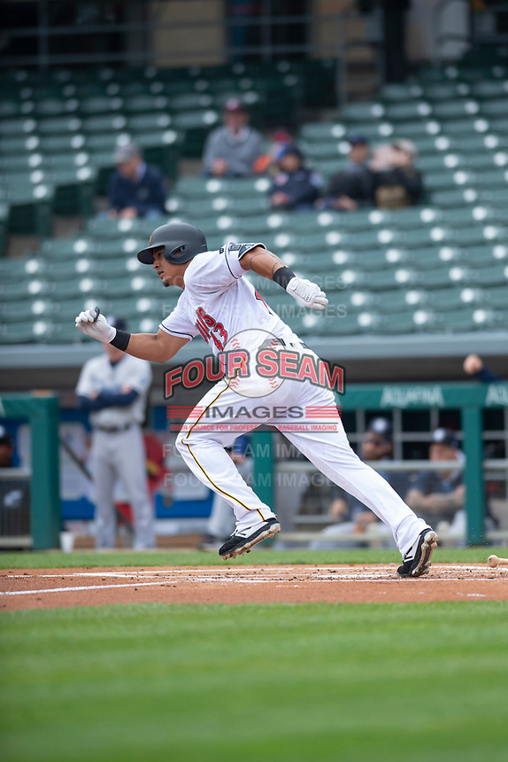 Indianapolis Indians designated hitter Jose Osuna (43) in a rehab assignment during an International League game against the Columbus Clippers on April 30, 2019 at Victory Field in Indianapolis, Indiana. Columbus defeated Indianapolis 7-6. (Zachary Lucy/Four Seam Images)
