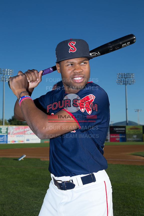 Salem Red Sox outfielder Manuel Margot (2) poses for a photo prior to the game against the Winston-Salem Dash at LewisGale Field at Salem Memorial Ballpark on May 13, 2015 in Salem, Virginia.  (Brian Westerholt/Four Seam Images)