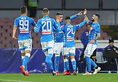2nd February 2019, Stadio San Paolo, Naples, Italy; Serie A football, Napoli versus Sampdoria;  Jose Maria Callejon of Napoli celebrates the goal from Arkadiusz Milik