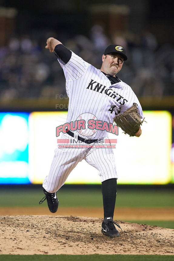 Charlotte Knights relief pitcher Drew Hasler (43) in action against the Scranton/Wilkes-Barre RailRiders at BB&T BallPark on April 12, 2018 in Charlotte, North Carolina.  The RailRiders defeated the Knights 11-1.  (Brian Westerholt/Four Seam Images)