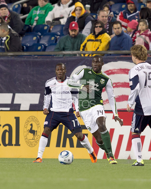 Portland Timbers midfielder James Marcelin (14) at midfield. In a Major League Soccer (MLS) match, the New England Revolution tied the Portland Timbers, 1-1, at Gillette Stadium on April 2, 2011.