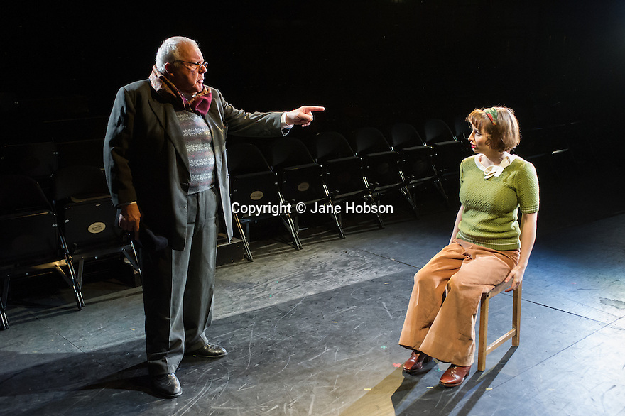London, UK. 21.02.2014. THE A TO Z OF MRS P has its world premiere at Southwark Playhouse.  The story behind the handy, all-purpose, pocket-sized A-Z Street Guide is written by Diane Samuels (book) and Gwyneth Herbert (music and lyrics). <br />  Starring ISY SUTTIE (Peep Show / Shameless) in her first musical, as the pioneering Mrs P; with Tony Award winner FRANCES RUFFELLE (Les Miserables, Pippin, Piaf) as her emotionally fragile mother; and Olivier Award winner MICHAEL MATUS (Martin Guerre, The Baker's Wife, The Sound Of Music) as Phyllis&rsquo;s beloved and impossible father, the map publisher Sandor Gross. Directed by Sam Buntrock. Picture shows: Sidney Livingstone (Mr Fountain) and Isy Suttie (Mrs P). <br /> Photograph &copy; Jane Hobson.