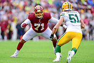 Landover, MD - September 23, 2018: Washington Redskins offensive tackle Trent Williams (71) in action against Green Bay Packers linebacker Kyler Fackrell (51) during game between the Green Bay Packers and the Washington Redskins at FedEx Field in Landover, MD. The Redskins get the win 31-17 over the visiting Packers. (Photo by Phillip Peters/Media Images International)