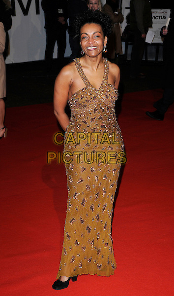 "ADJOA ANDOH .Attending the ""Invictus'"" UK Film Premiere at the Odeon West End cinema, Leicester Square, London, England, January 31st, 2010. .arrivals full length gold beaded long maxi dress black shoes straps brown beige.CAP/CAN.©Can Nguyen/Capital Pictures"