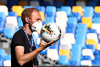 Ball Serie A and Mask coronavirus<br /> during the Serie A football match between SSC  Napoli and SPAL at stadio San Paolo in Naples ( Italy ), June 28th, 2020. Play resumes behind closed doors following the outbreak of the coronavirus disease. <br /> Photo Cesare Purini / Insidefoto