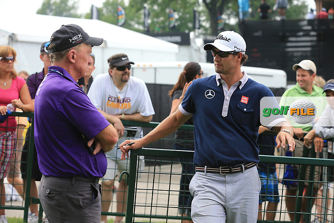 Adam Scott (AUS) chats to golf journalist Bernie Maguire during Wednesday's Practice Day of the 2013 Bridgestone Invitational WGC tournament held at the Firestone Country Club, Akron, Ohio. 31st July 2013.<br /> Picture: Eoin Clarke www.golffile.ie