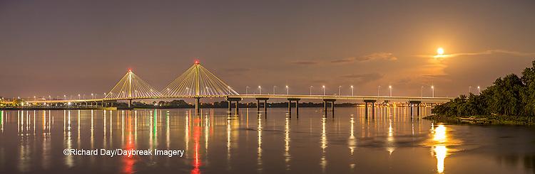 63895-15512 Clark Bridge over Mississippi River at night and full moon Alton, IL