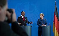 Berlin, 20130508CB019, Bundeskanzlerin Angela Merkel (CDU) und der Staatspräsident der Republik Niger, Mahamadou Issoufou, am Mittwoch (08.05.13) im Bundeskanzleramt in Berlin bei einer Pressebegegnung