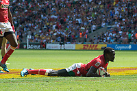 Twickenham, United Kingdom. 2nd June 2018, HSBC London Sevens Series. Game No. 15. Pool,  C. Collins INJERA, runs in to score a try during the Kenya vs France played at  the RFU Stadium, Twickenham, England, <br /> <br /> <br /> <br /> &copy; Peter SPURRIER/ Alamy Live  News