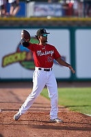 Billings Mustangs Reniel Ozuna (23) throws a football before a Pioneer League game against the Grand Junction Rockies at Dehler Park on August 15, 2019 in Billings, Montana. Billings defeated Grand Junction 11-2. (Zachary Lucy/Four Seam Images)