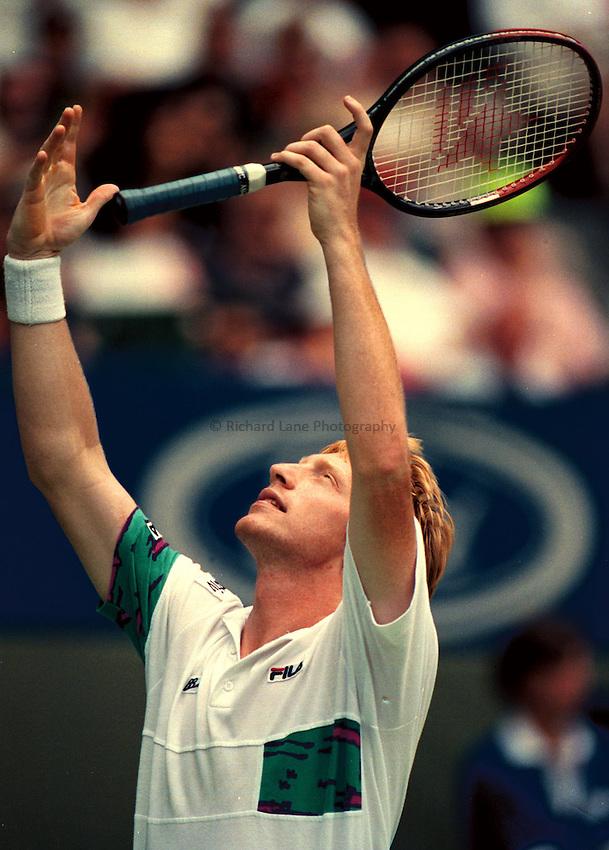 Photo. Steve Holland.Australian Open at Melbourne. 1991..Boris Becker
