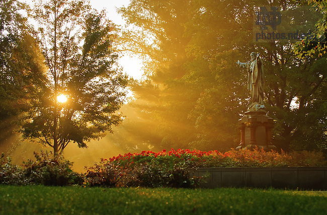 Jesus Statue on a misty morning..Photo by Matt Cashore/University of Notre Dame