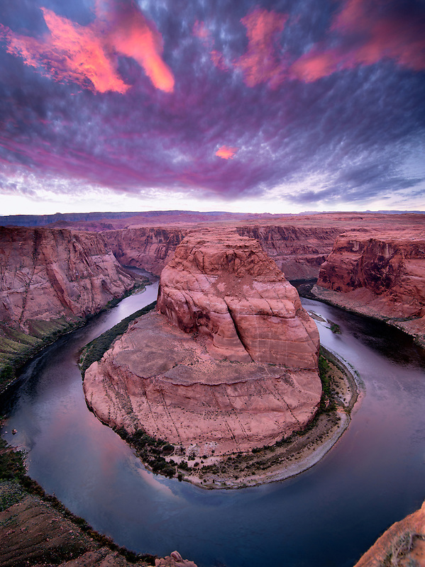 Sunset at Horseshoe Bend on the Colorado River. Arizona