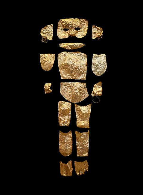 Body shaped Mycenaean gold cut outs from Grave III, 'Grave of a Women', Grave Circle A, Myenae, Greece. National Archaeological Museum Athens. Black Background<br /> <br /> Cat No 146. 16th century BC.<br /> <br /> A unique gold body covering and face of an infant child mad out of pieces of gold foll<br /> <br /> Shaft Grave III, the so-called 'Grave of the Women,' contained three female and two infant interments. The women were literally covered in gold jewelry and wore massive gold diadems, while the infants were overlaid with gold foil.