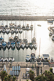 ISRAEL, Tel Aviv, at the Marina, above shot of  boats parking outdoors