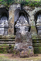 Bali, Gianyar, Gunung Kawi. An 11th century temple complex close to Tampaksiring. A stairway leads up to the monuments.