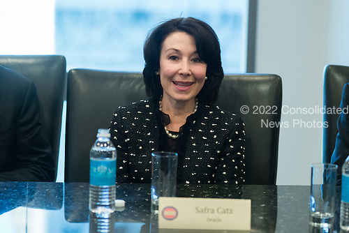 Oracle CEO Safra Catz is seen in attendance at a meeting of technology chiefs in the Trump Organization conference room at Trump Tower in New York, NY, USA on December 14, 2016. <br /> Credit: Albin Lohr-Jones / Pool via CNP