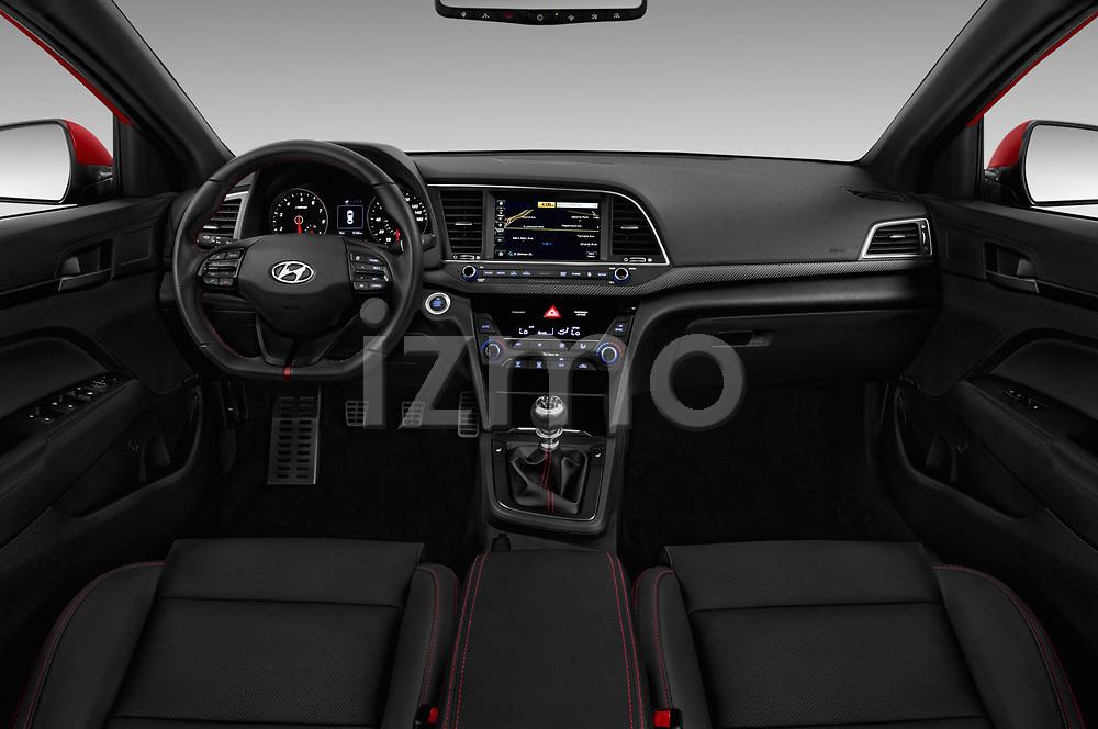 Stock photo of straight dashboard view of 2017 Hyundai Elantra Sport 4 Door Sedan Dashboard