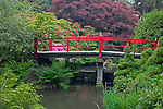 Seattle, WA<br /> Kubota Garden city park, Heart Bridge spans the Necklace of Ponds on Mapes creek with flowering rhododendron in the background