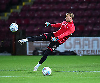 Lincoln City's Sam Slocombe during the pre-match warm-up<br /> <br /> Photographer Andrew Vaughan/CameraSport<br /> <br /> The EFL Checkatrade Trophy Northern Group H - Scunthorpe United v Lincoln City - Tuesday 9th October 2018 - Glanford Park - Scunthorpe<br />  <br /> World Copyright &copy; 2018 CameraSport. All rights reserved. 43 Linden Ave. Countesthorpe. Leicester. England. LE8 5PG - Tel: +44 (0) 116 277 4147 - admin@camerasport.com - www.camerasport.com