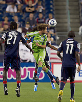 Seattle Sounders FC forward Roger Levesque (24) flicks the ball forward. The New England Revolution defeated the Seattle Sounders FC, 3-1, at Gillette Stadium on September 4, 2010.
