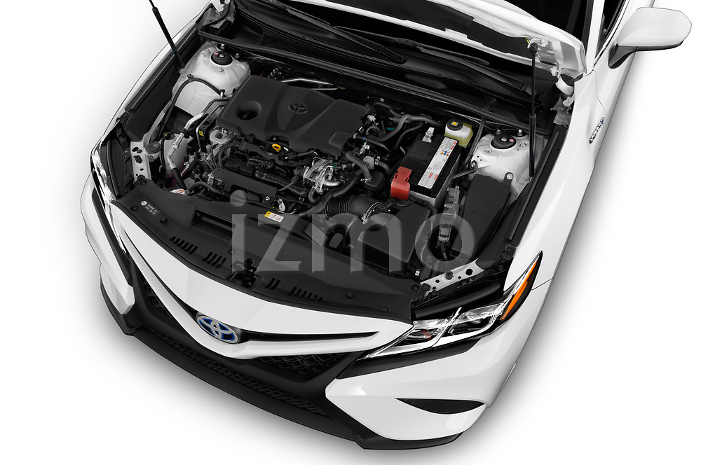Car stock 2019 Toyota Camry Hybrid SE 4 Door Sedan engine high angle detail view