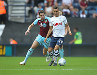 Preston North End's Graham Burke battles with Burnley's Stephen Ward<br /> <br /> Photographer Mick Walker/CameraSport<br /> <br /> Football Pre-Season Friendly - Preston North End  v Burnley FC  - Monday 23st July 2018 - Deepdale  - Preston<br /> <br /> World Copyright &copy; 2018 CameraSport. All rights reserved. 43 Linden Ave. Countesthorpe. Leicester. England. LE8 5PG - Tel: +44 (0) 116 277 4147 - admin@camerasport.com - www.camerasport.com