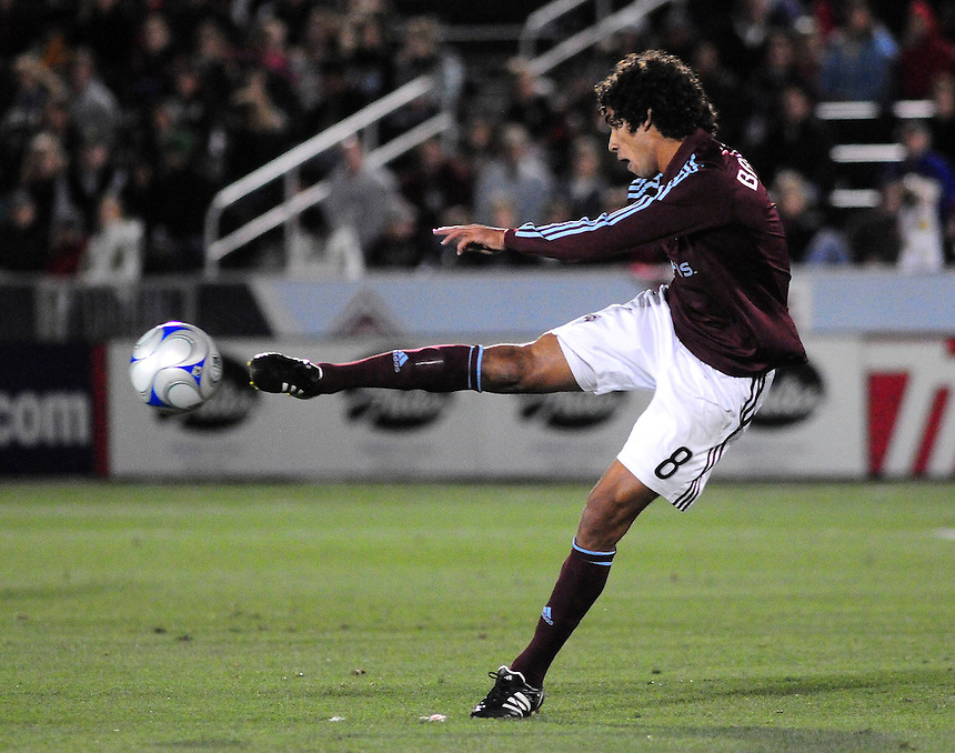 25 October 08: Rapids Mehdi Ballouchy advances the ball against against Real Salt Lake. Real Salt Lake tied the Colorado Rapids 1-1 at Dick's Sporting Goods Park in Commerce City, Colorado. The tie advanced Real Salt Lake to the playoffs.