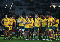 The Wallabies are dejected after the Bledisloe Cup and Rugby Championship rugby match between the New Zealand All Blacks and Australia Wallabies at Eden Park in Auckland, New Zealand on Saturday, 25 August 2018. Photo: Simon Watts / lintottphoto.co.nz