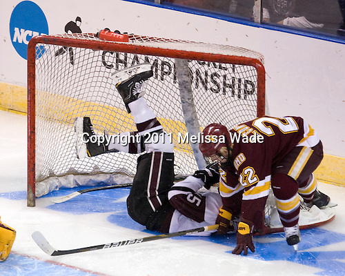 Matt Hatch (Union - 15), Mike Connolly (Duluth - 22) - The University of Minnesota-Duluth Bulldogs defeated the Union College Dutchmen 2-0 in their NCAA East Regional Semi-Final on Friday, March 25, 2011, at Webster Bank Arena at Harbor Yard in Bridgeport, Connecticut.
