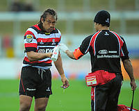 Counties player-coach Tana Umaga quenches his thirst. ITM Cup rugby match - Taranaki v Counties-Manukau Steelers at Yarrow Stadium, New Plymouth, New Zealand on Sunday 12 September 2010. Photo: Dave Lintott/lintottphoto.co.nz.