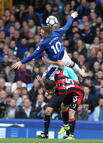23rd  September 2017, Goodison Park, Liverpool, England; EPL Premier League Football, Everton versus Bournemouth; Wayne Rooney of Everton  is fouled by Adam Smith of Bournemouth