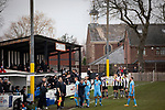 Atherton Collieries 1, Boston United 0, 23/11/19. Alder House, FA Trophy, third qualifying round. Players taking drinks during the first-half as Atherton Collieries played Boston United (blue) in the FA Trophy third qualifying round at the Skuna Stadium. The home club were formed in 1916 and having secured three promotions in five season played in the Northern Premier League premier division. This was the furthest they had progressed in the FA Trophy and defeated their rivals from the National League North by 1-0, Mike Brewster scoring a late winner watched by a crowd of 303 spectators. Photo by Colin McPherson.