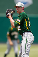 Baylor Bears pitcher Trent Blank #22 before the NCAA Regional baseball game against Oral Roberts University on June 3, 2012 at Baylor Ball Park in Waco, Texas. Baylor defeated Oral Roberts 5-2. (Andrew Woolley/Four Seam Images)