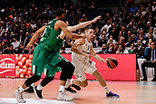 22nd March 2018, Wizink Centre, Madrid, Spain; Turkish Airlines Euroleague Basketball, Real Madrid versus Zalgiris Kaunas; Fabien Causeur (Real Madrid Baloncesto) brings the ball foward defended by Brandon Davies (Zalgiris Kaunas) and Axel Toupane (Zalgiris Kaunas)