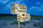 """Former """"Area 51 black mailbox"""" now white, for Steve Medlin, complete with """"alien"""" drop box."""