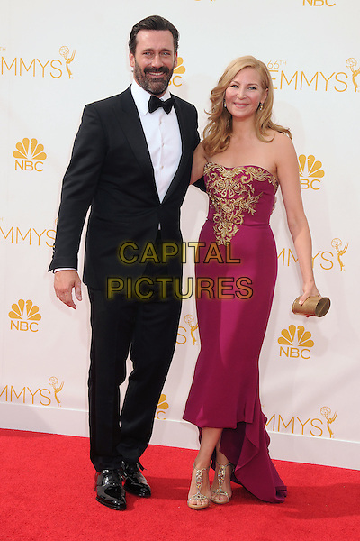 25 August 2014 - Los Angeles, California - Jon Hamm, Jennifer Westfeldt. 66th Annual Primetime Emmy Awards - Arrivals held at Nokia Theatre LA Live. <br /> CAP/ADM/BP<br /> &copy;BP/ADM/Capital Pictures