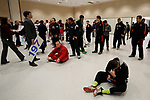 LA CROSSE, WI - MARCH 11: All American wrestlers prepare for the parade walk before the start of the NCAA Division III Men's Wrestling Championship held at the La Crosse Center on March 11, 2017 in La Crosse, Wisconsin. (Photo by Carlos Gonzalez/NCAA Photos via Getty Images)