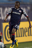 New England Revolution midfielder Sainey Nyassi (17) attempts to control a long pass. The New England Revolution defeated DC United, 1-0, at Gillette Stadium on August 7, 2010.