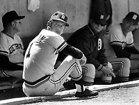 Detroit Tigers manager Billy Martin sitting on dughout during game against the A's..(1973 photo/Ron Riesterer)