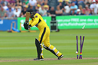 Jack Taylor of Gloucestershire is bowled out by Jamie Porter during Gloucestershire vs Essex Eagles, NatWest T20 Blast Cricket at The Brightside Ground on 13th August 2017