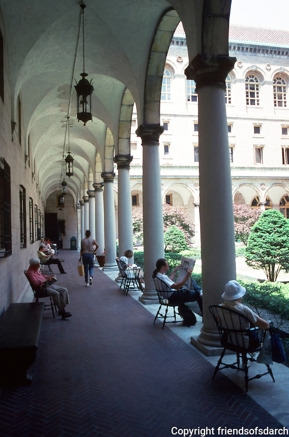 Boston:  Public Library--Court.  Arched portico.  Photo '88.