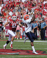 NWA Democrat-Gazette/ANDY SHUPE<br /> Arkansas' Brooks Ellis (51) pursues University of Texas at El Paso's Aaron Jones Saturday, Sept. 5, 2015, as Jones makes a catch during the second quarter of play in Razorback Stadium in Fayetteville. Visit nwadg.com/photos to see more from the game.